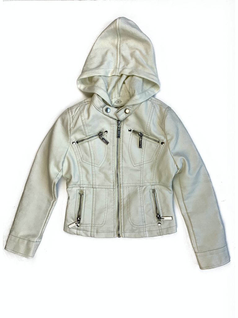 JouJou Cream Leather Jacket with Hood - 6/7 yrs