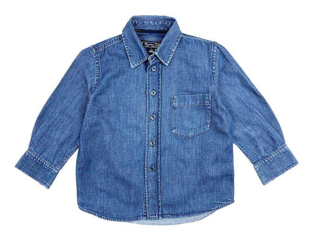 Massimo Dutti Dark Blue Denim Shirt - 2 yrs
