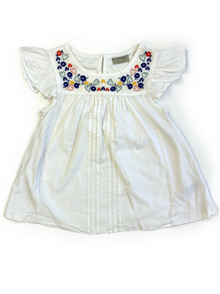 NEXT White Top With Flower Embroidery Design - 8 yrs