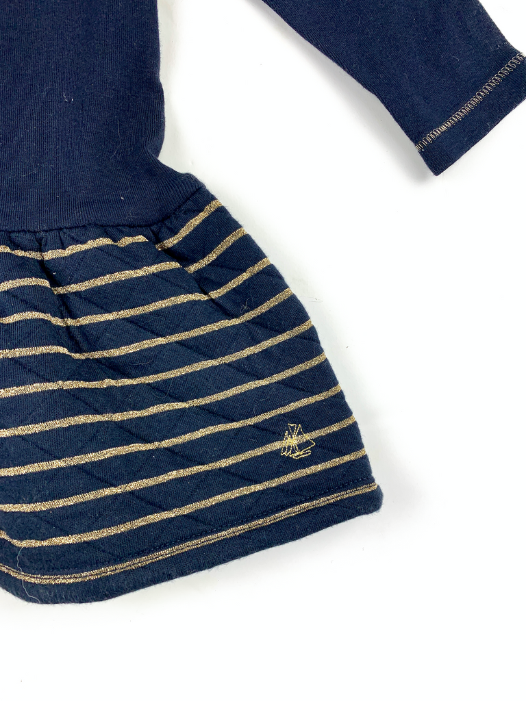 Petit Bateau Navy Dress with Gold Trim - 12 mths