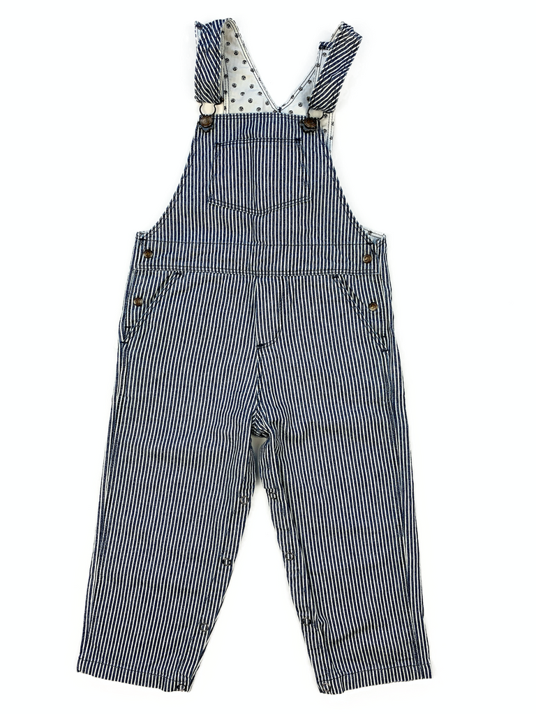 Petit Bateau Light Blue Striped Dungarees - 24 mths