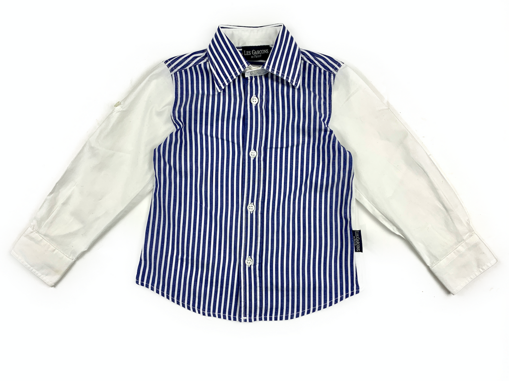 Les Garcons Blue and White Striped Shirt - 2 yrs