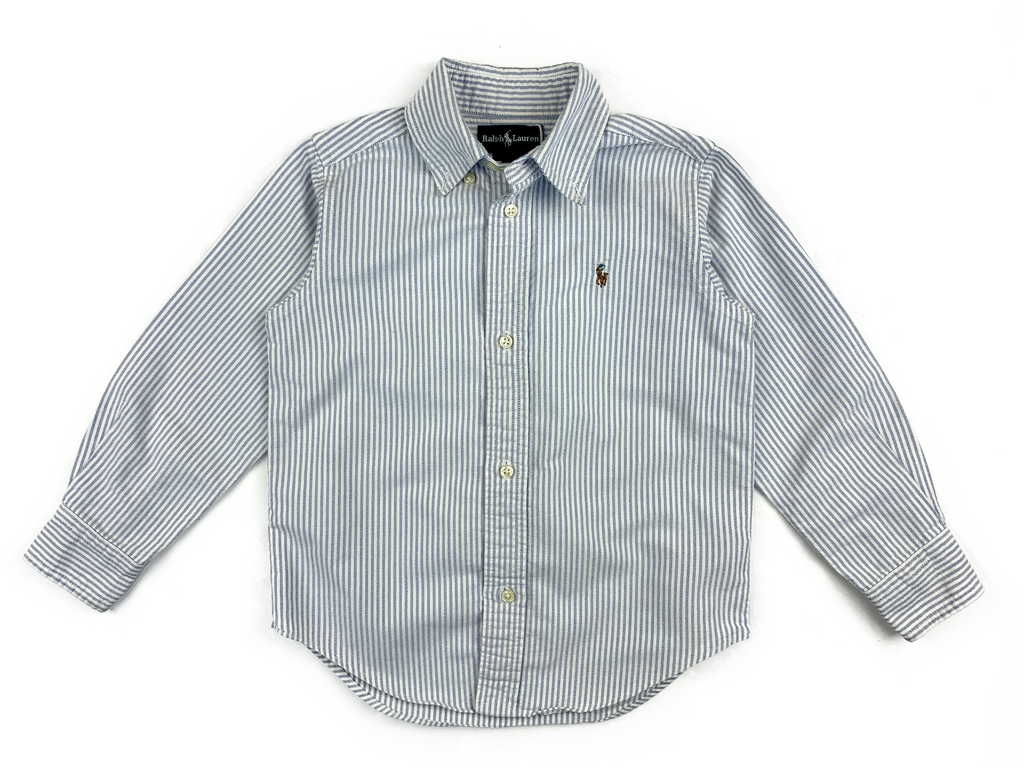 Ralph Lauren Blue and White Striped Shirt - 3 yrs
