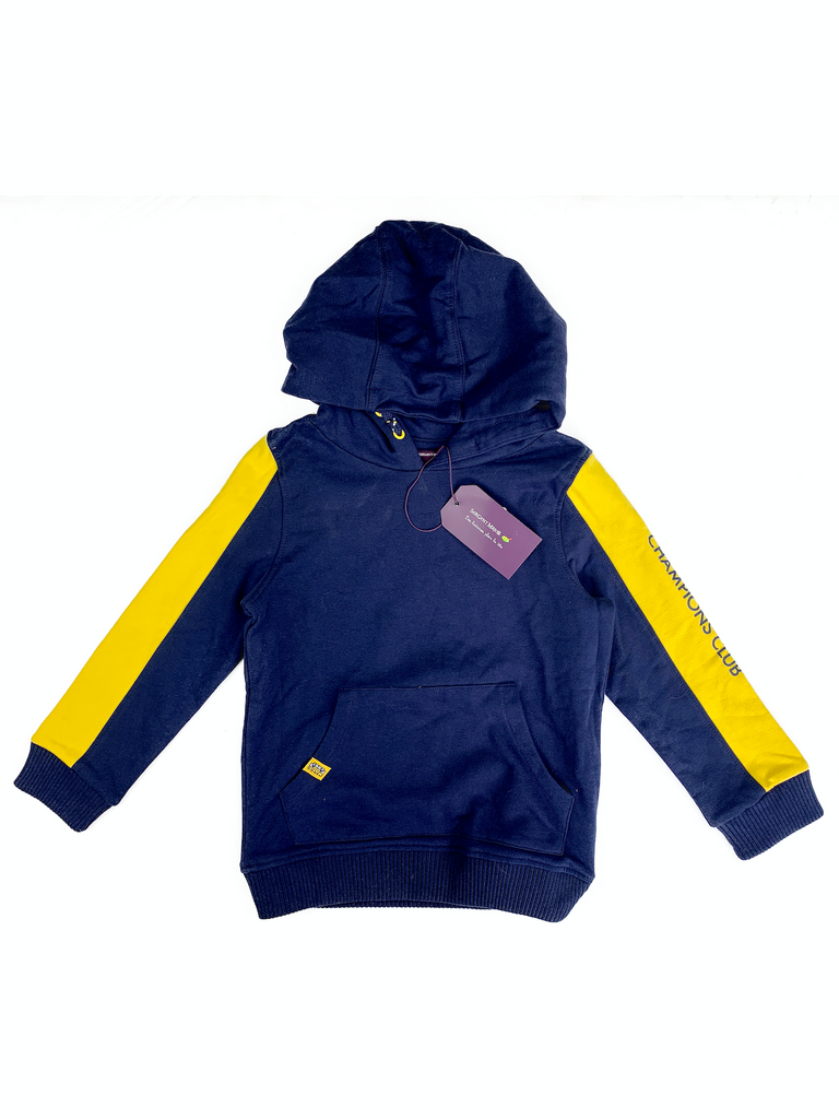 Sergent Major Navy Hoodie with Yellow Arm Stripes - 7 yrs