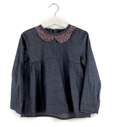 Mis Crios denim blouse with flower print collar - 5 yrs