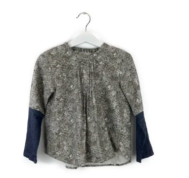 Mis Crios grey flower print blouse with denim sleeves - 5 yrs