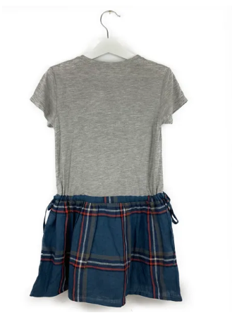 Mis Crios dress, grey top/checkered skirt - 5 yrs
