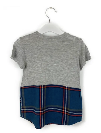 Mis Crios grey and checkered t-shirt top - 5 yrs