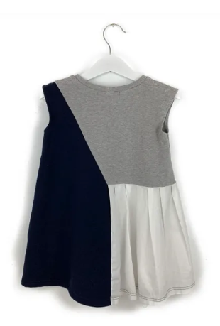 Mis Crios grey/white/navy dress - 4 yrs
