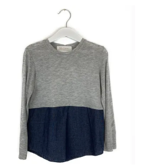 Mis Crios long sleeved grey/navy top - 5 yrs