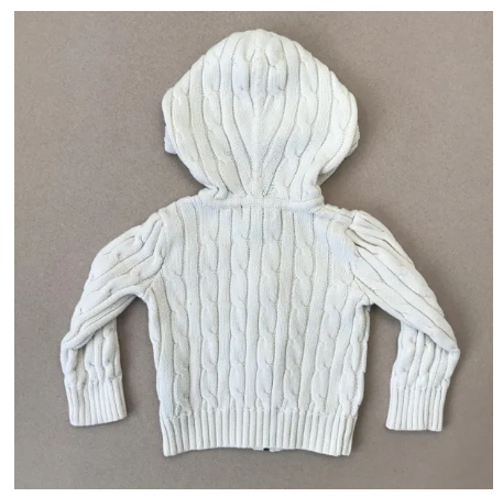 Ralph Lauren white cable knit hooded top - 2 yrs