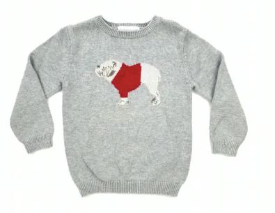 White Company grey jumper with dog motif - 2/3 yrs