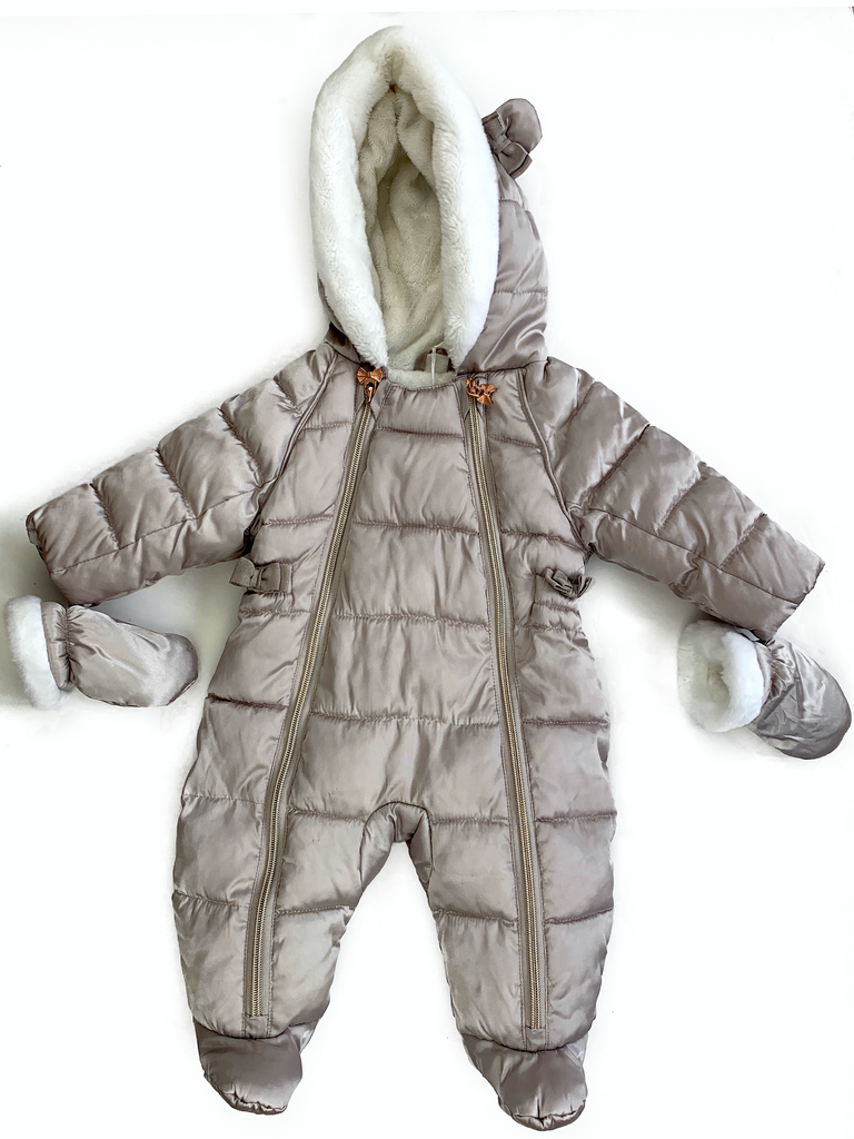 Ted Baker Baby Girls Rose Gold Snowsuit With Mittens - 0/3 mths