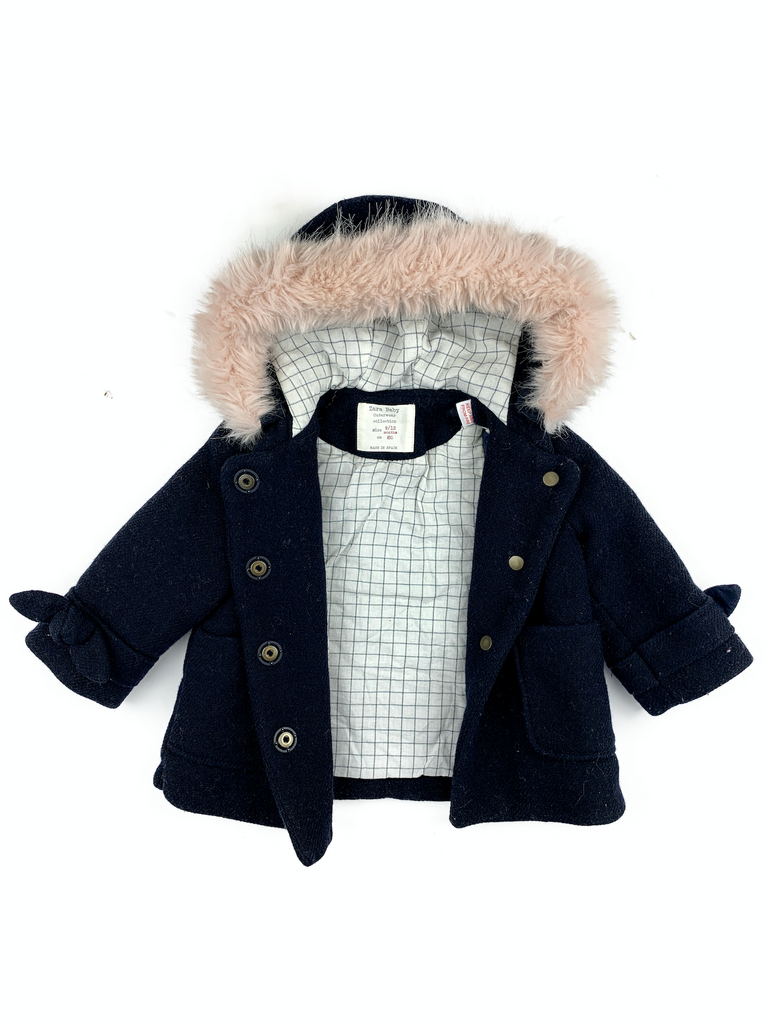 Zara Coat with Faux Fur Lined Hood - 9/12 mths