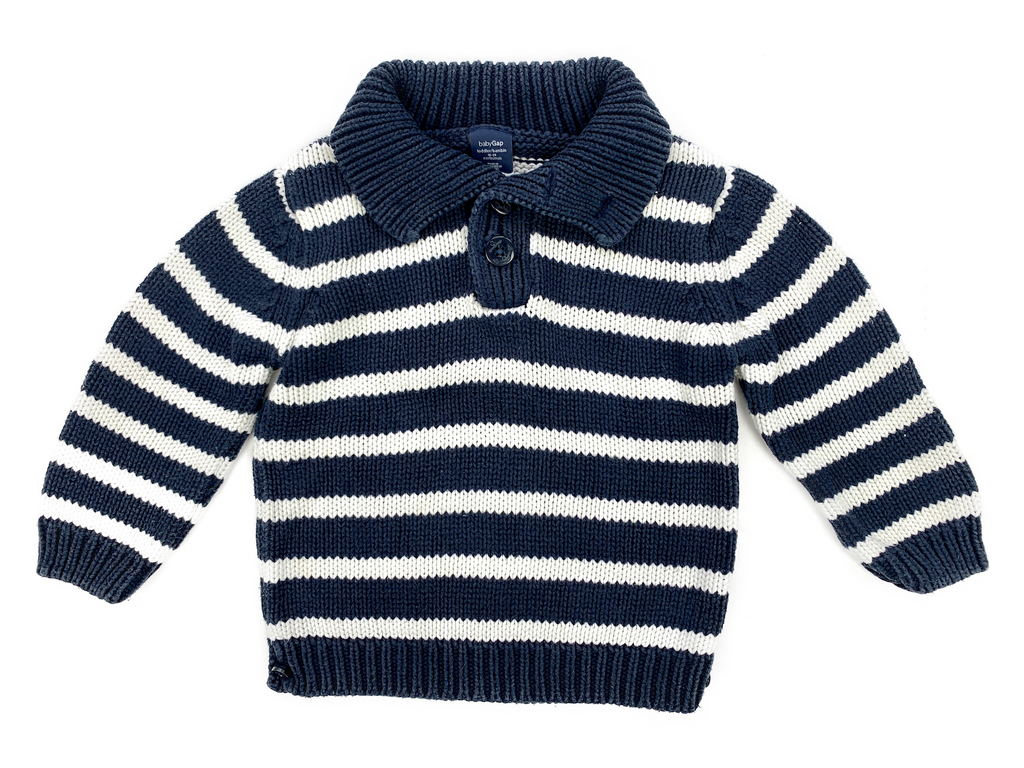 BabyGap Blue and White Striped High Necked Jumper - 18/24 mths