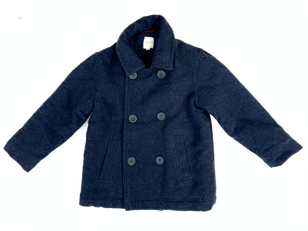 Gocco Fleece Lined Double Breasted Wool Coat - 4/5 yrs