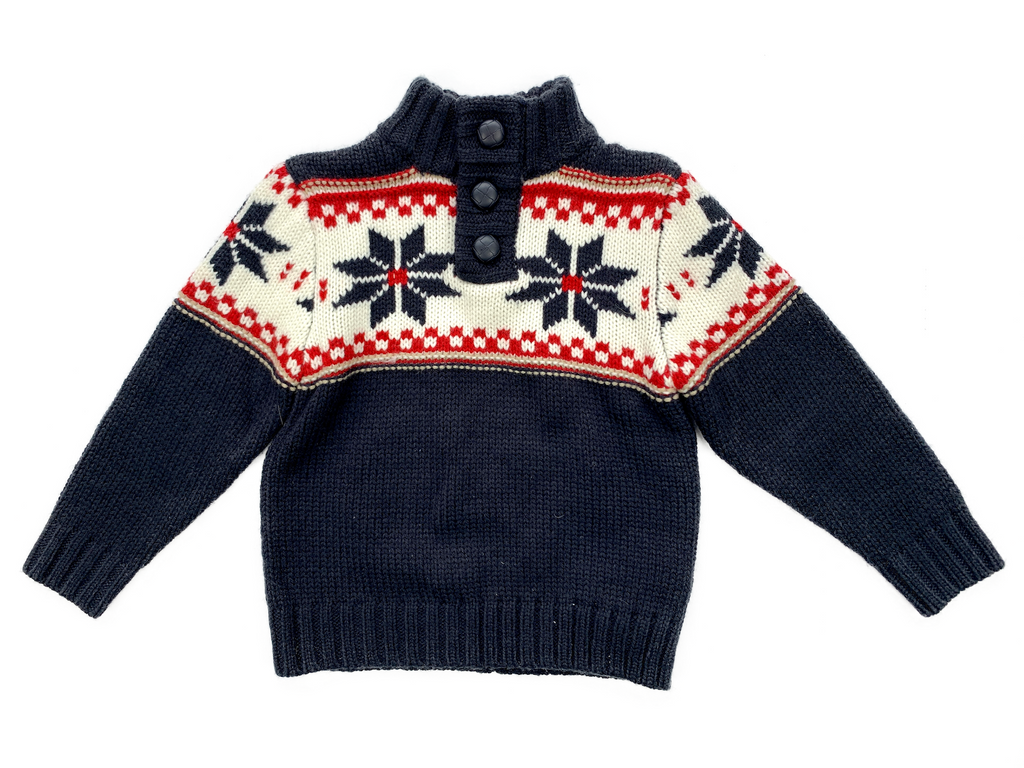 Early Days Navy Jumper with Red and White Pattern - 18/24 mths