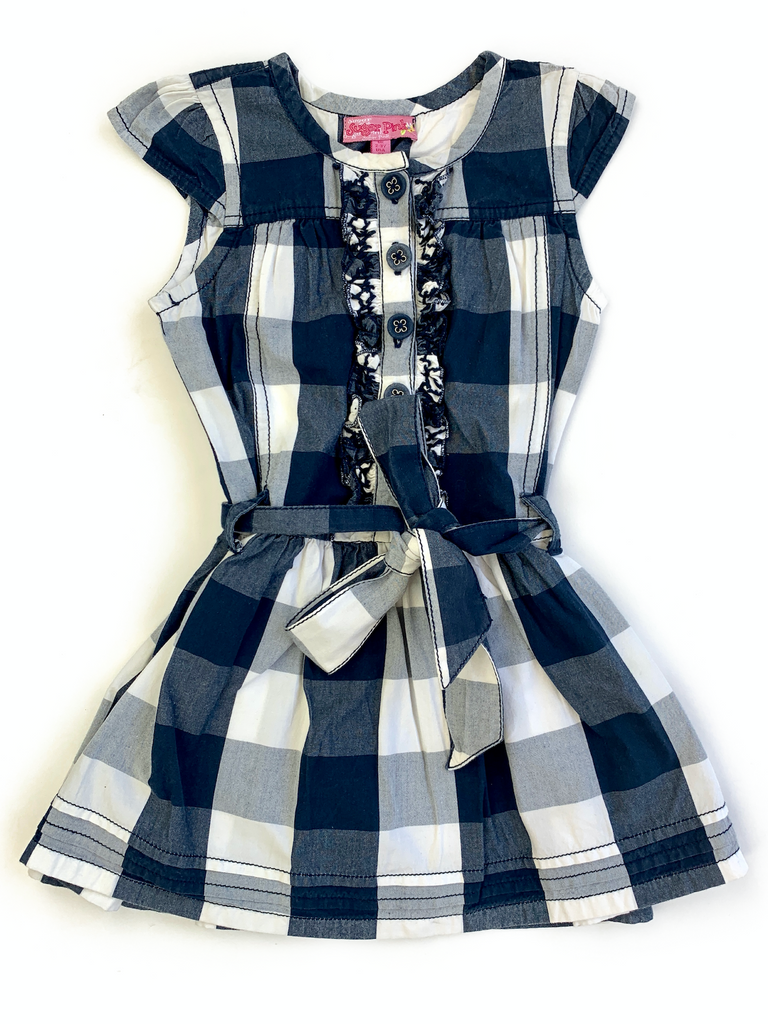 Sugar Pink Navy Checked Dress - 2/3 yrs