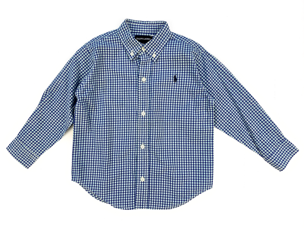 Ralph Lauren Green and Blue Checked Shirt - 4 yrs