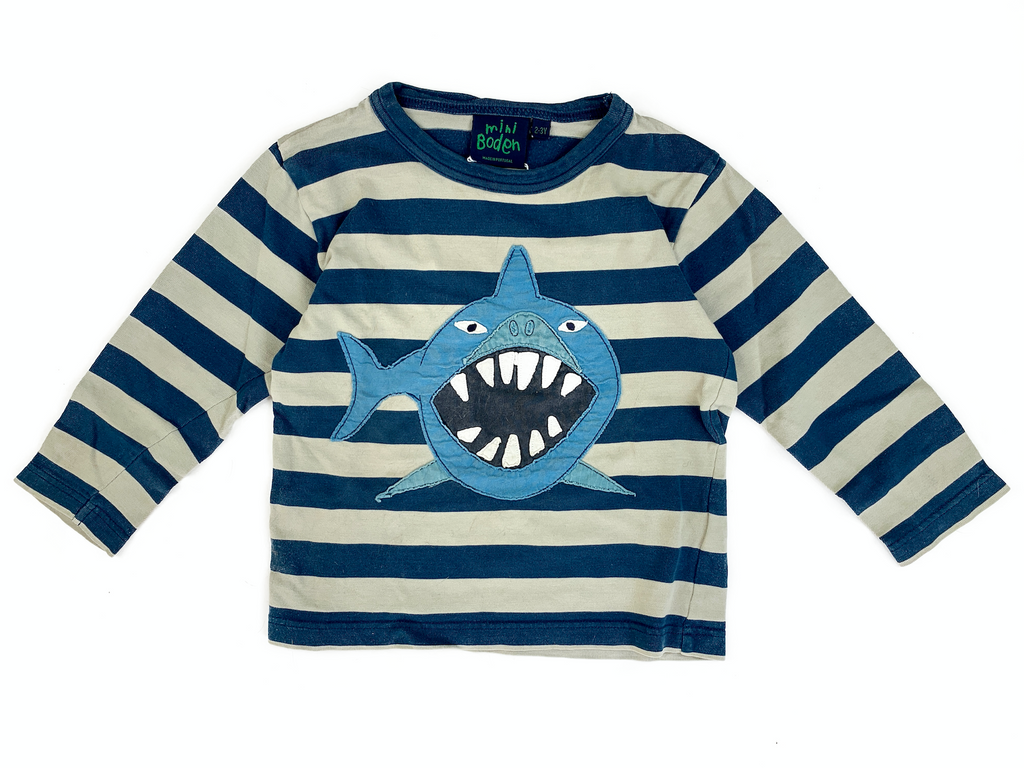 Boden Shark T-Shirt - 2/3 yrs