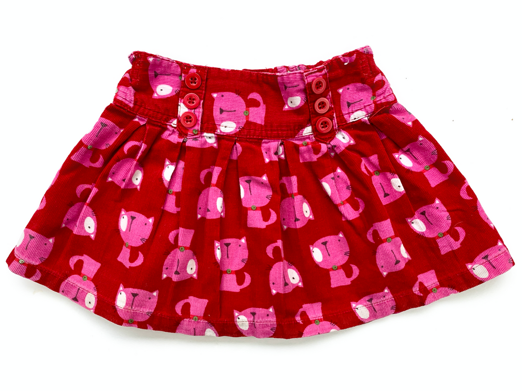 NEXT Pink Skirt with Cat Print - 12/18 mths