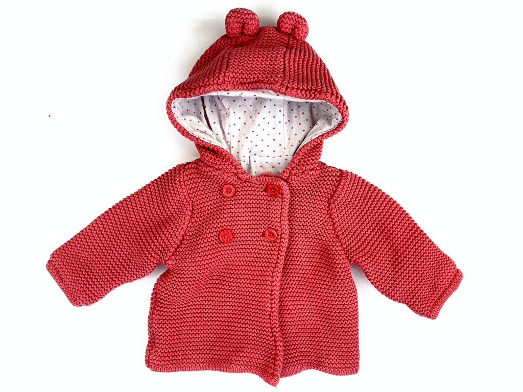 M&S Knitted Hoodie with Bear Ears - 0/3 mths