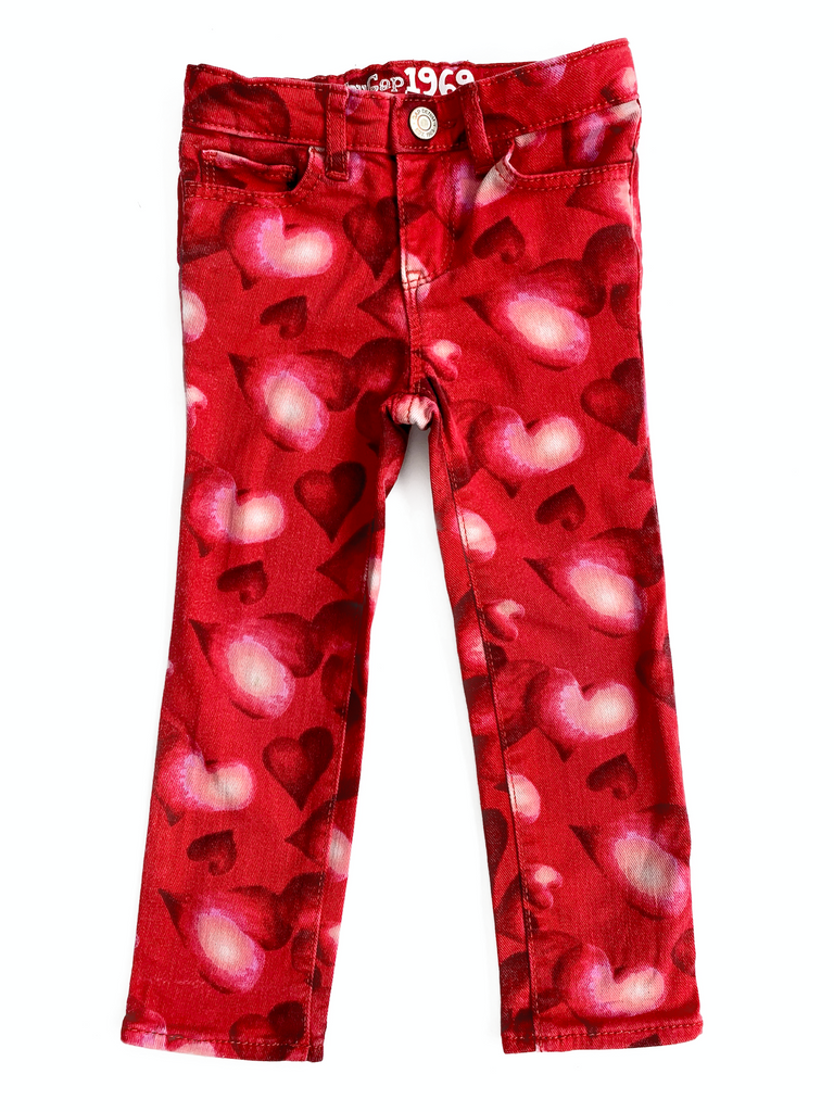 Gap 1969 Jeans with Pink and Red Hearts - 3 yrs