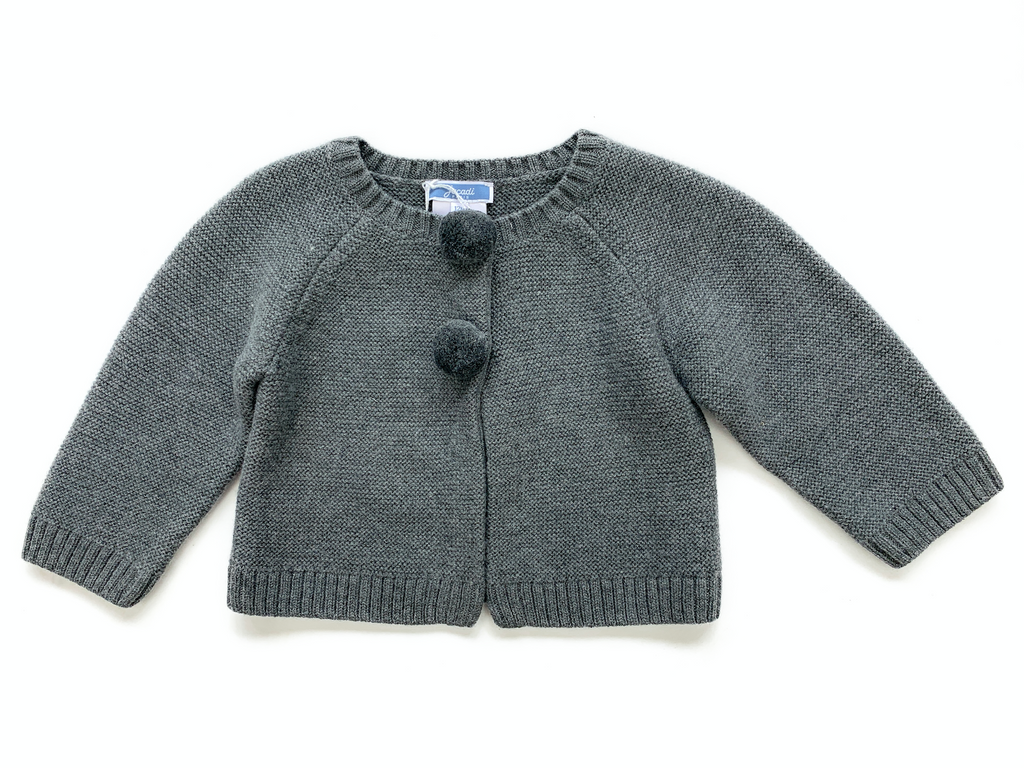 Jacadi Grey Wool/ Cashmere Knit Cardigan with Pom Poms - 12 mths