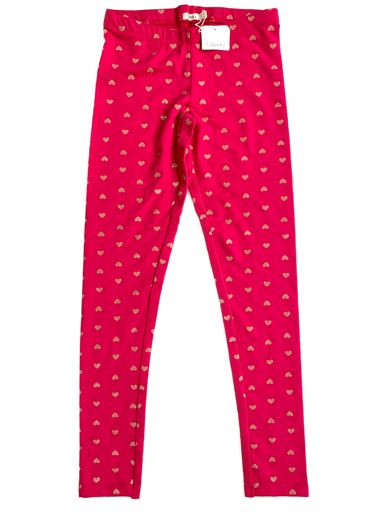 Sfera Pink Leggings with Gold Hearts - 11/12 yrs