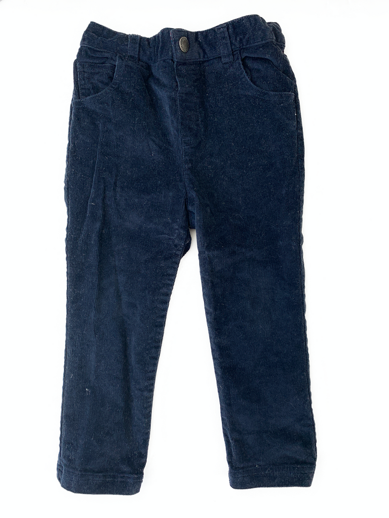 JoJo Maman Bebe Navy Cords (adjustable waist) - 2/3 yrs