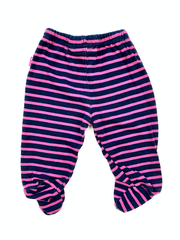JoJo Maman Bebe Navy and Pink and Navy Stipe Leggings - 0/3 mths