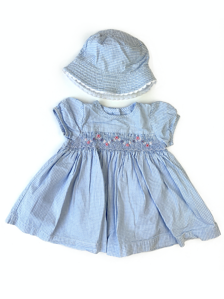 M&S dress and hat set - 3/6 mths