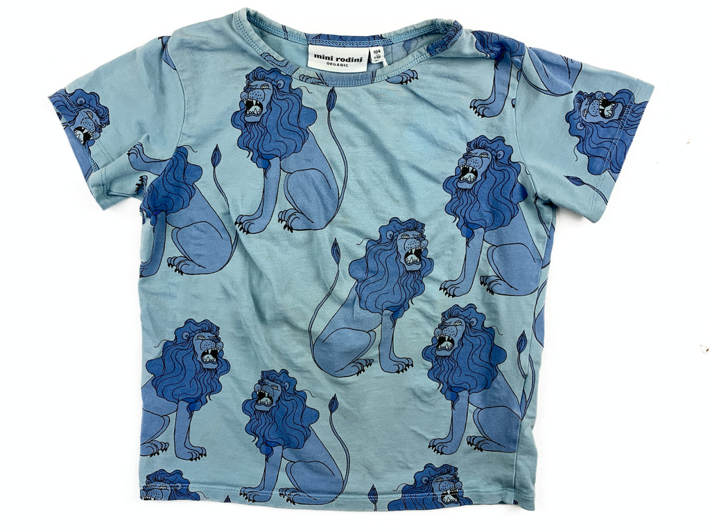 Mini Rodini T-Shirt with Lion Print - 3/4 yrs