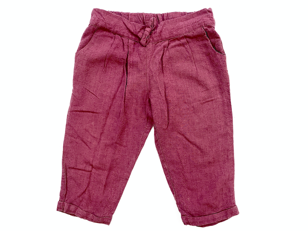 Gocco Burgandy Loose Fit Cotton Trousers - 12/24 mths