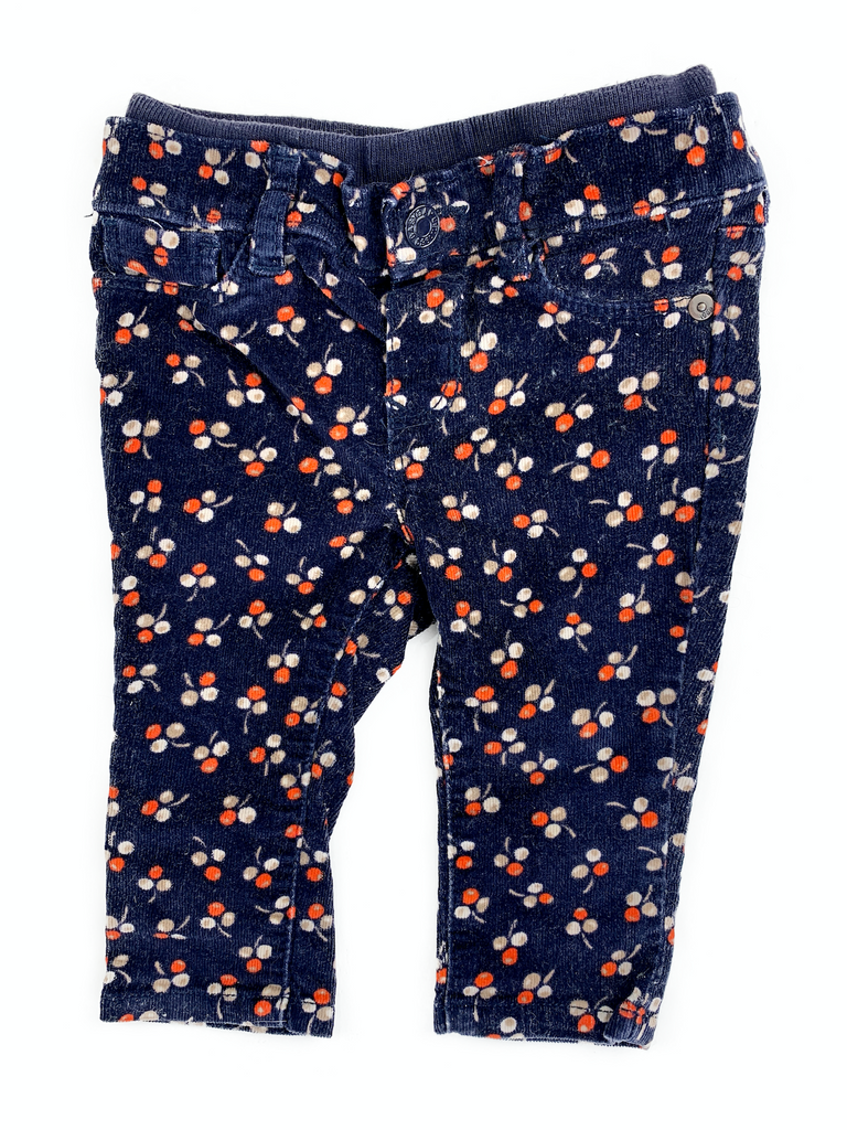 BabyGap Navy Trousers With Cherry Print - 6/12 mths
