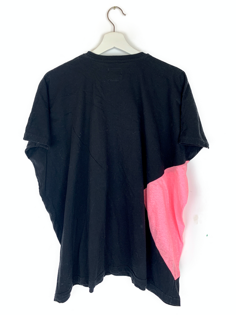 NuNu Black and Pink Oversized T-Shirt - 6/7 yrs