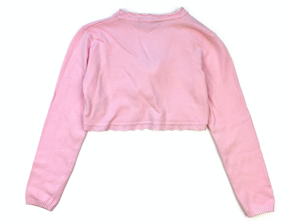 Ballerina Cropped Pink Cardigan with Diamante Motif - 3/4 yrs