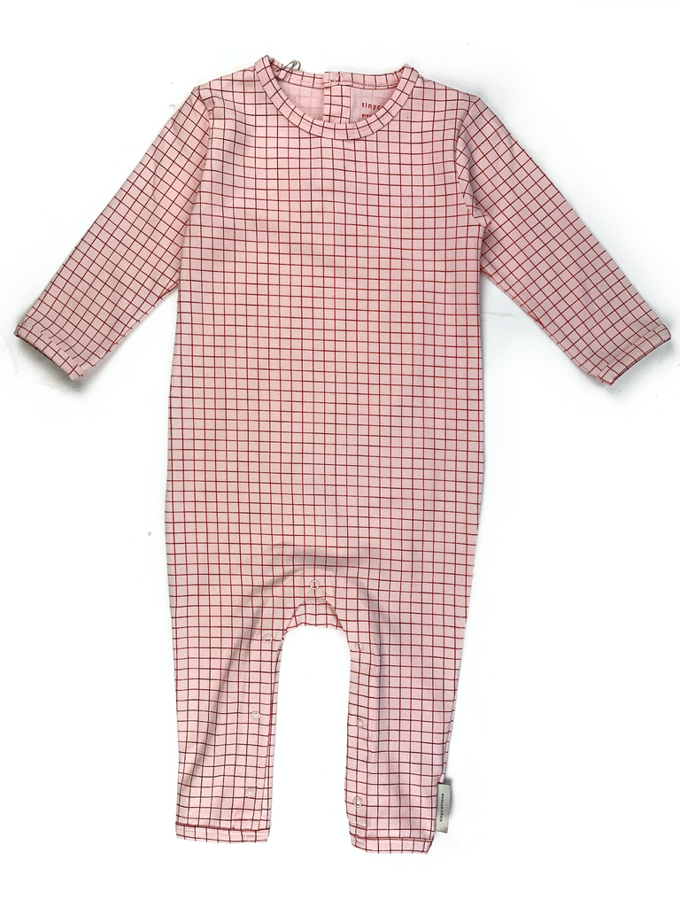 Tiny Cottons Pink One Piece with Dark Pink Grid Print - 12/18 mths