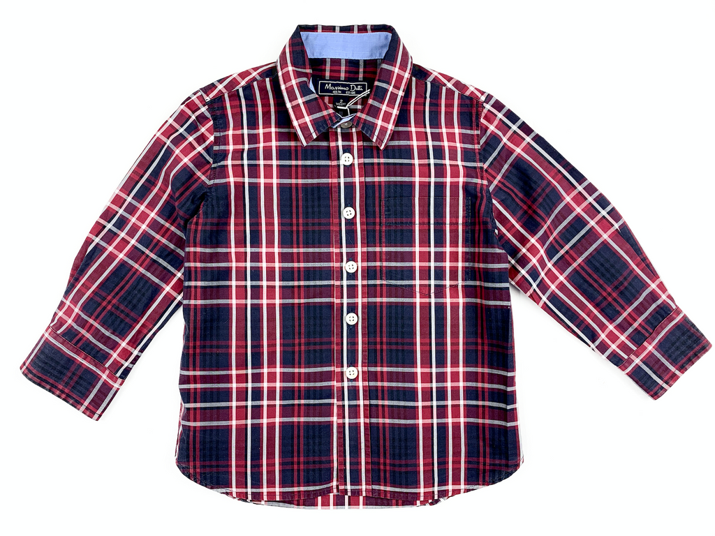 Massimo Dutti Red Checked Shirt - 2 yrs