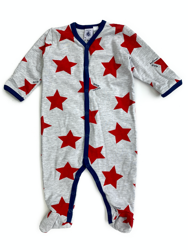 Petit Bateau Red Star Velour Sleepsuit - 6 mths