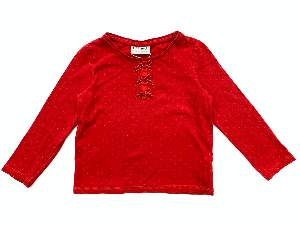 NEXT Red Top with Bows - 2/3 yrs