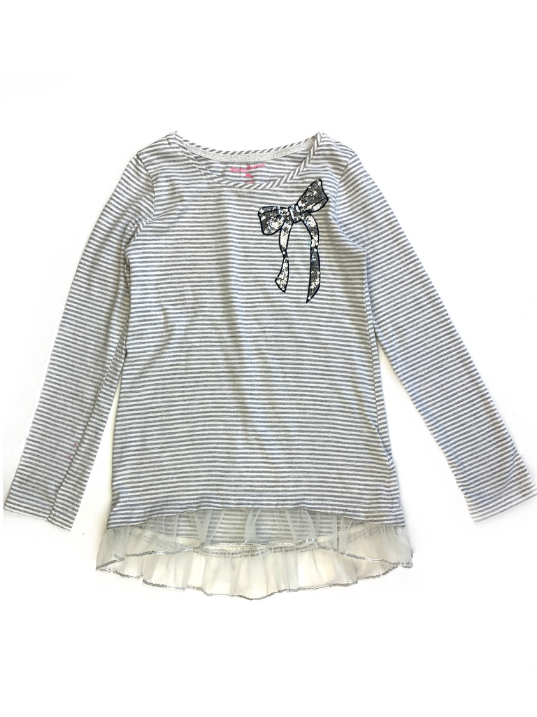 Tommy Bahama Grey and White Striped Top - 6/7 yrs