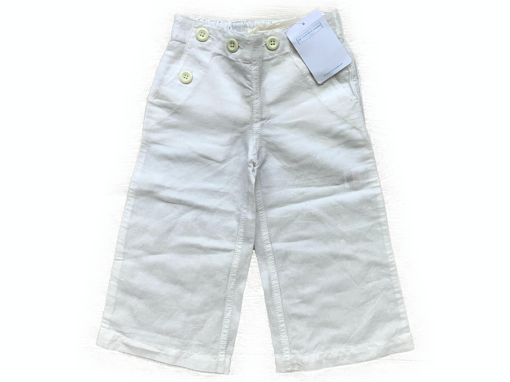 The Little White Company Cotton Wide Legged Trousers - 3/4 yrs