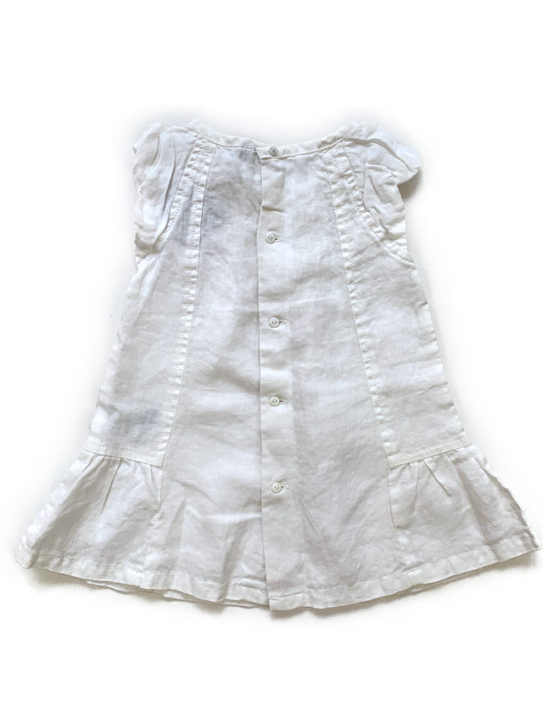 M. Baby White Linen Dress - 12 mths