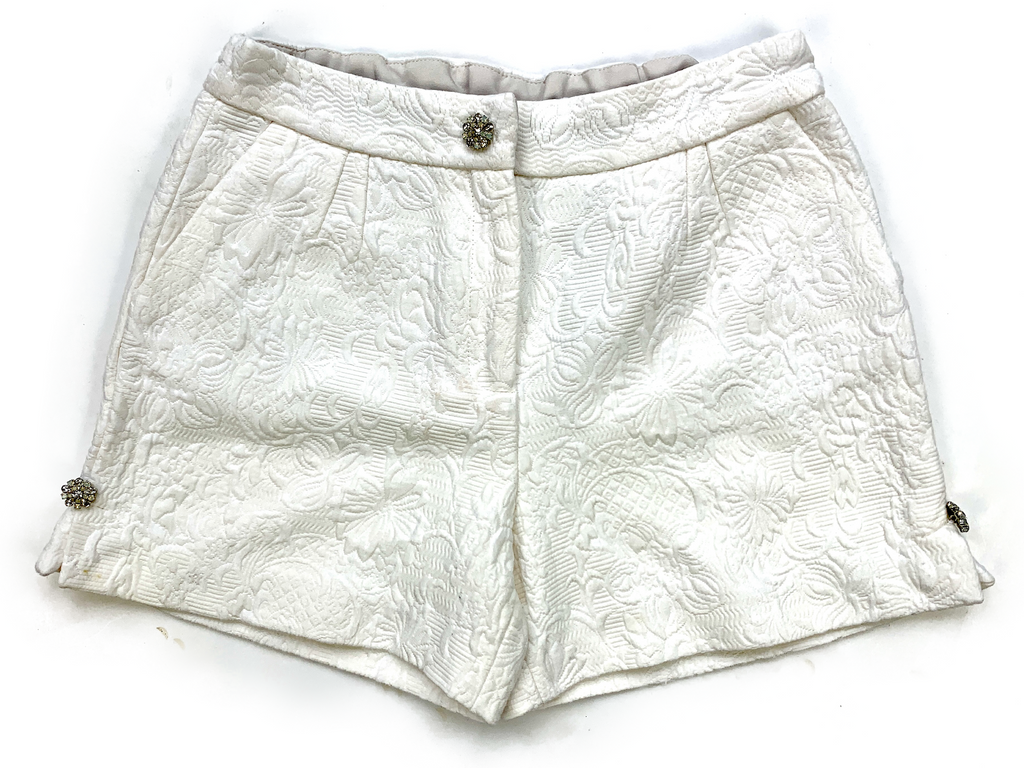 Dolce & Gabbana White Brocade Shorts - 7/8 yrs