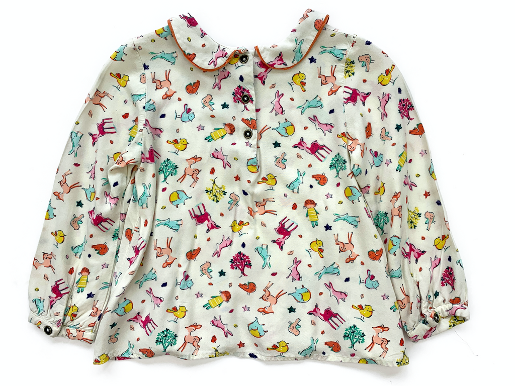 NEXT Blouse with Woodland Animal Print - 2/3 yrs