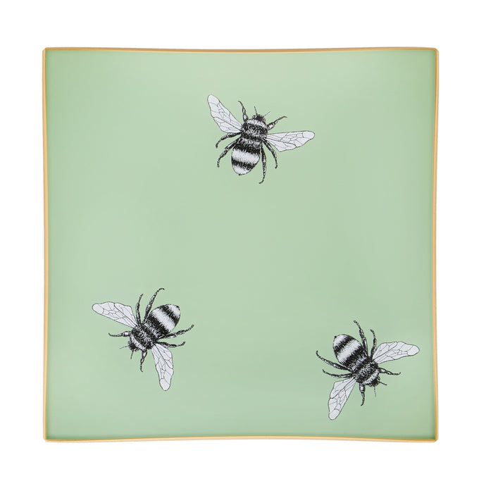 Pale Sage Green Bee Glass Tray