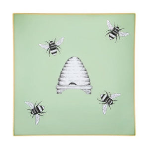 Pale Sage Green Bees & Hive Glass Tray