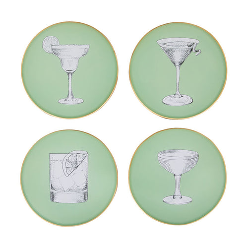 Set of Pale Sage Green Glass Coasters