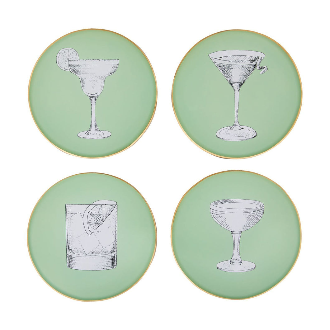 Pale Sage Green Glass Coasters